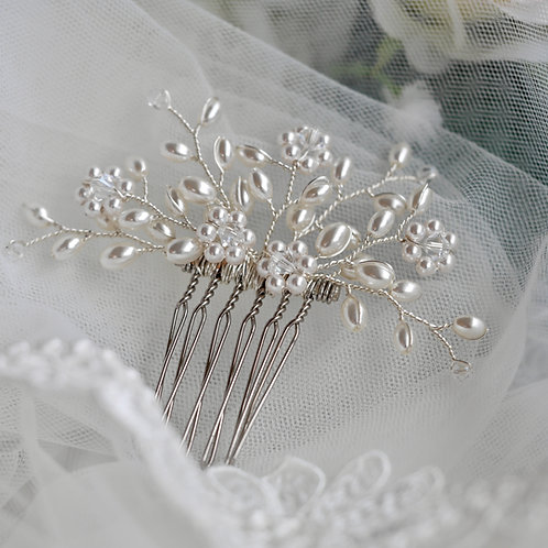 Daisy Swarovski Crystal/Pearl Medium Comb