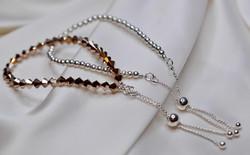 Rose Gold Crystals /slider clasp