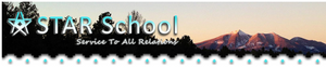 """star school logo with photo of mountain and the words """"Service To All Relations"""""""