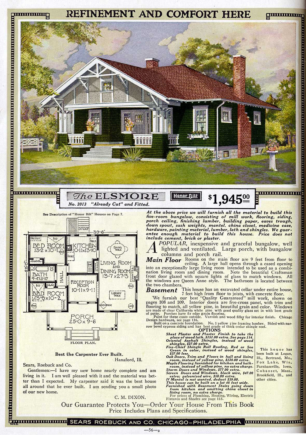 sears roebuck ad for mail-order house for $1,945