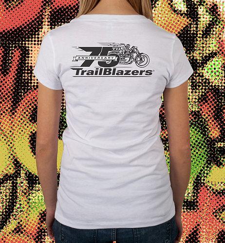 75th Anniversary Trailblazers Ladies V-Neck T-Shirt