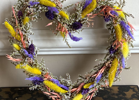 Spring Colours Dried Flower Heart Wreath