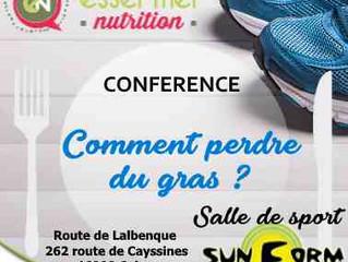 """Conférence """"Alimentation et activité physique"""" / Acte 2: comment perdre du gras?"""