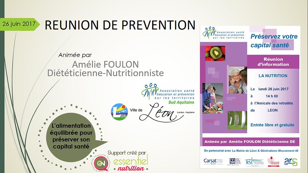 Amélie Foulon, diététicienne-nutritionniste, anime la Réunion de prévention de l'ASEPT à Léon (40)