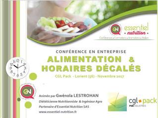 """Conférence """"Alimentation & Horaires décalés"""""""