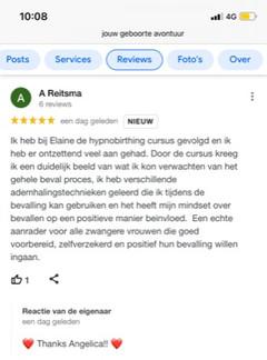 Google review van Angelica die, samen met haar vriend, het Live programma deed