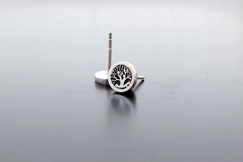 Sterling silver earrings,tree and roots, stud earrings