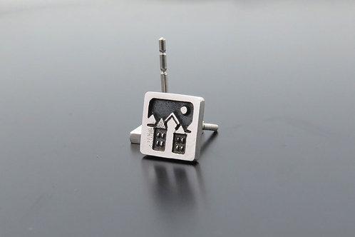 Tiny earring studs, ear studs, square earrings, town earrings