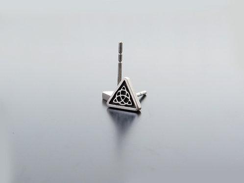Valknut Earrings, triangle silver earring posts, geometric studs, celtic knot