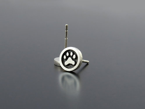 Silver Paw Earrings, silver earring posts, Animal paw studs, Puppy earrings, sil