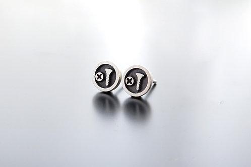 Silver Screw Head Earrings, mens earring posts, Screw earrings