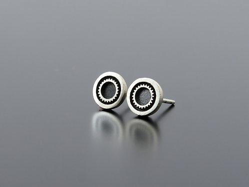silver cogwheel earrings, gear earring posts, gear studs, cogwheel studs