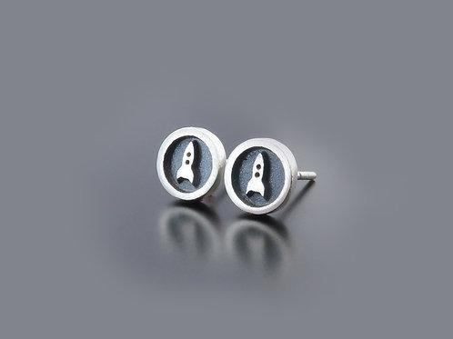 silver rocket earrings, rocket earring posts, rocket studs, circle studs