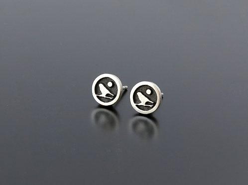Silver Bird earrings, silver posts, ear studs, Birds Jewelry