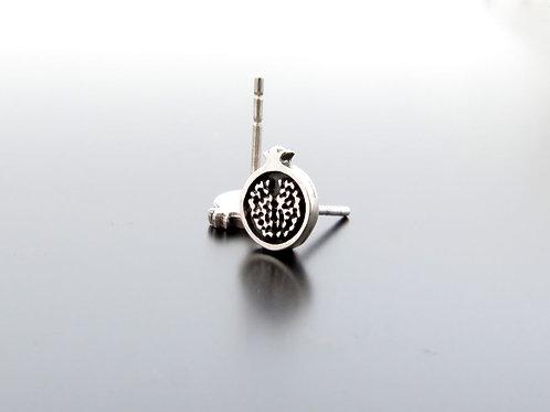Pomegranate earrings, silver earring studs