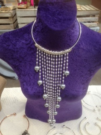 Long Silver Pearl Neck Bangle