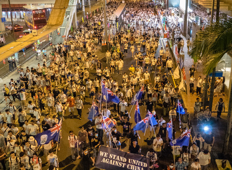 Pro-Independence protesters gathered at the United States Consulate General in Hong Kong