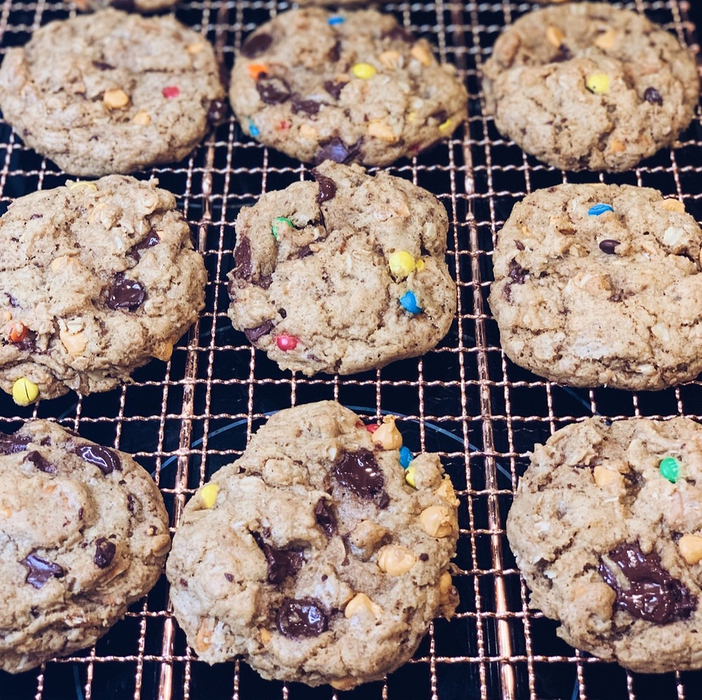 Baked cookies with chocolate chips and colorful m&ms