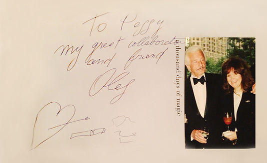 From the table top book A Thousand Days Of Magic by Oleg Cassini an inscription from Oleg to Peggy