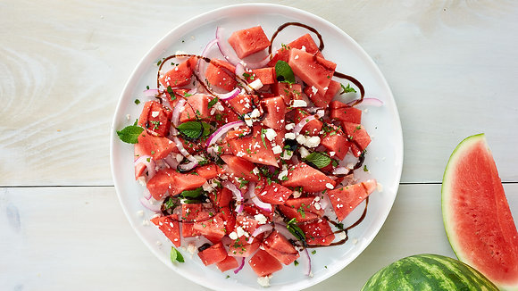 Watermelon and Feta Salad with Balsamic Drizzle