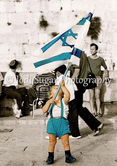 Boy with Israeli Flag, Kotel, Jerusalem
