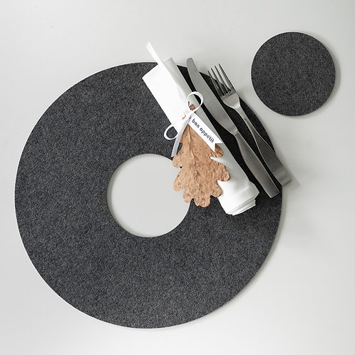 Tischset (38 cm) aus Filz - Rund mit Glasuntersetzer