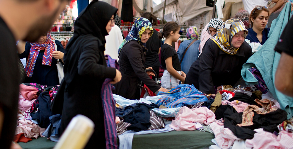 People shop in Malta market in the Fatih neighborhood of Istanbul, which has a large Syrian population. Credit: Danielle Villasana/The World