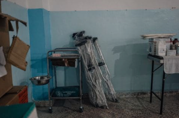 An underground medical facility set up by the Kurdish Red Crescent in a town in Hasakah province, near the Turkish border. (Alice Martins for The Washington Post)