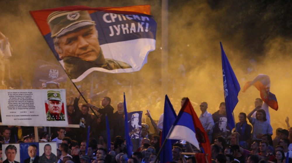 Mladic supporters demonstrate in Belgrade against Ratko Mladic's arrest [Srdjan Stevanovic/Getty Images]