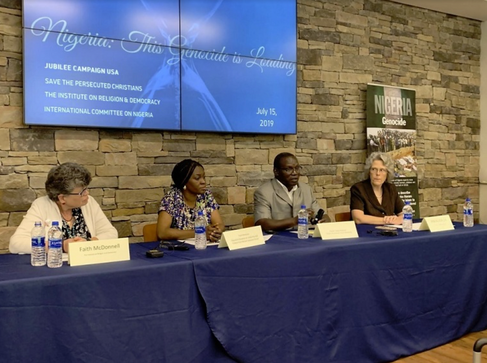 Panelists participate in a panel discussion about the ongoing human rights abuses committed in Nigeria by Fulani militants against Christian farming communities in Washington, D.C. on July 15, 2019. From left to right: Faith McDonnell from the Institute on Religion & Democracy, Nigerian Christian Toynin Shonowo, Nigerian Pastor Yakubu Bakfwash and Ann Buwalda from the Jubilee Campaign. | Jubilee Campaign/Jenitza Castro.