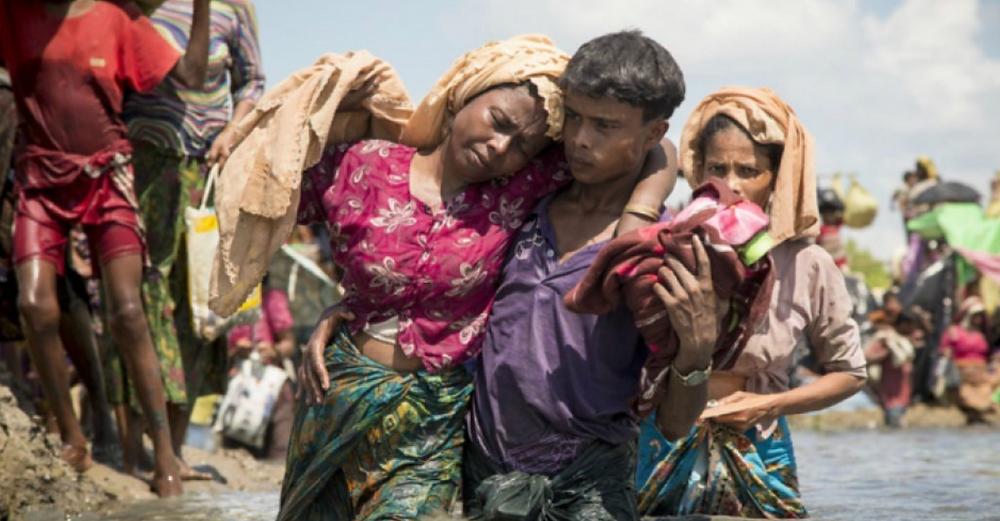 Thousands of new Rohingya refugee arrivals cross the border near Anzuman Para village, Palong Khali, Bangladesh. (Photo: Roger Arnold/UNHCR)
