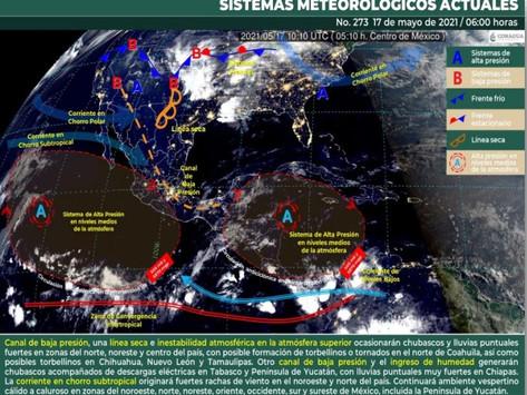 Posibles lluvias fuertes en Yucatán, Campeche y Quintana Roo, tome sus precauciones