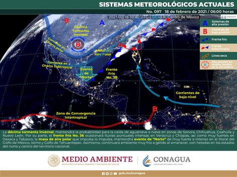 Frente frío No. 36 recorrerá el sur del Golfo de México y alcanzará la Península de Yucatán