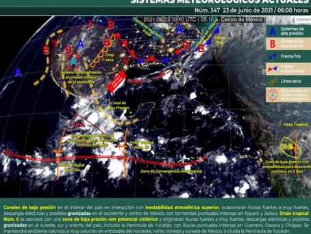 Cielo despejado y nublados aislados con probabilidad para lloviznas en Yucatán