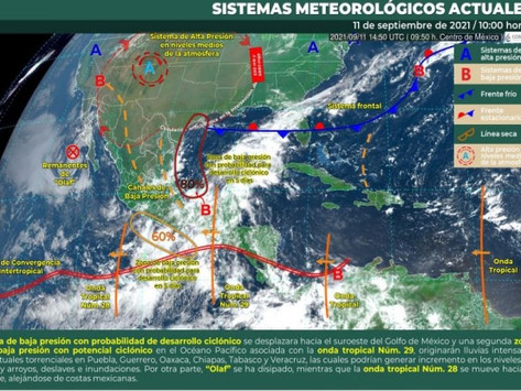 Lluvias en el sur de la península de Yucatán en los próximos días