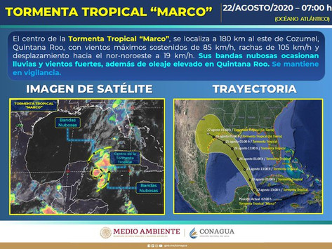 Emiten Alerta Amarilla para 8 municipios de Quintana Roo por tormenta 'Marco'