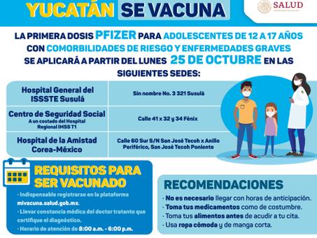 Vacunación de adolescentes de 12 a 17 años de edad con comorbilidades de riesgo y enfermedades grave