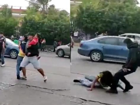 Con bebé en brazos, aficionado del San Luis protagoniza pelea con americanistas
