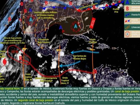 Probabilidad de chubascos y tormentas fuertes con actividad eléctrica en Yucatán