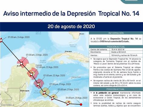 """En caso de convertirse en ciclón podría llamarse """"Marco o Laura"""""""