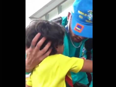 La emoción de un niño al ver a Neymar