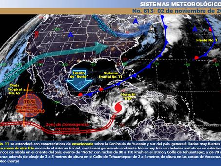 Frente frío No.11 generará lluvias para Yucatán