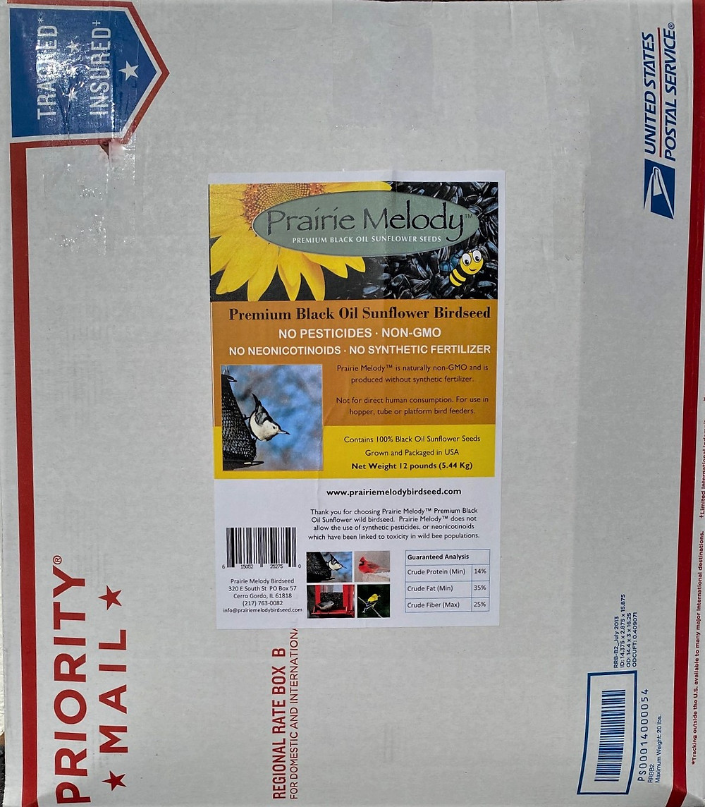 Prairie Melody birdseed in USPS Priority Mail Box