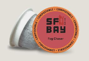 Compostable Coffee Pods from SF Bay  Note the filter where the plastic usually is