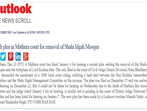 Fresh plea in Mathura court for removal of Shahi Idgah Mosque - www.outlookindia.com