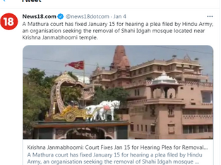 A Mathura court has fixed January 15 for hearing a plea filed by Hindu Army