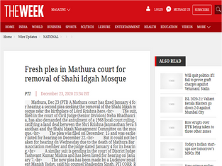 Fresh plea in Mathura court for removal of Shahi Idgah Mosque - www.theweek.in