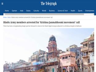 Hindu Army members arrested for 'Krishna Janmabhoomi movement' call