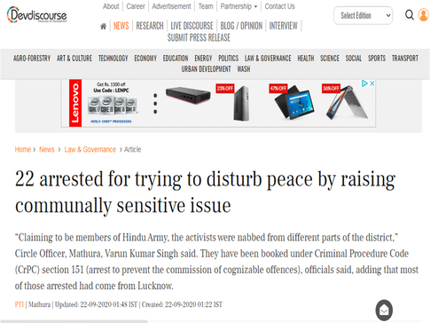 22 arrested for trying to disturb peace by raising communally sensitive issue