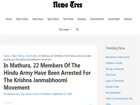 In Mathura, 22 Members Of The Hindu Army Have Been Arrested For The Krishna Janmabhoomi Movement